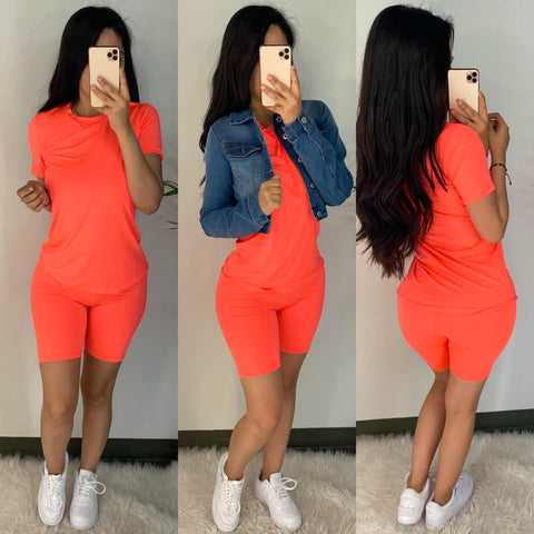 Demi (Neon Coral) Short Set