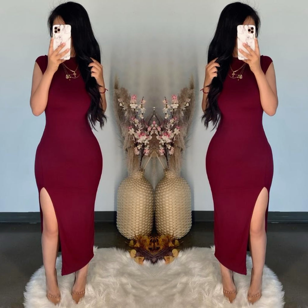 Ruth (Burgundy) Dress