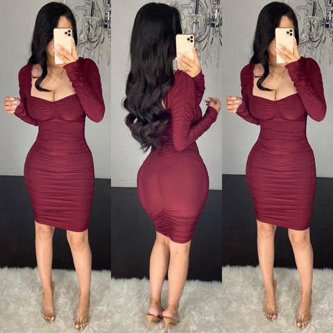 Darla (Burgundy)  Ruched Dress