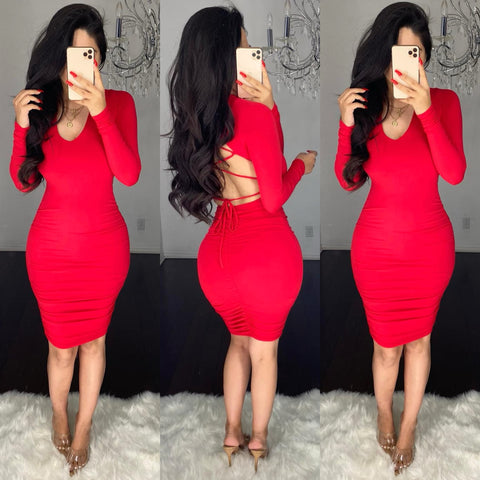 Ulyssa (Red) Midi Dress