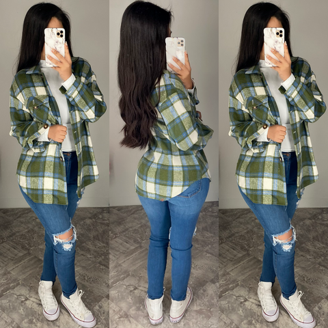 Clove (Olive) Oversized Flannel Shacket