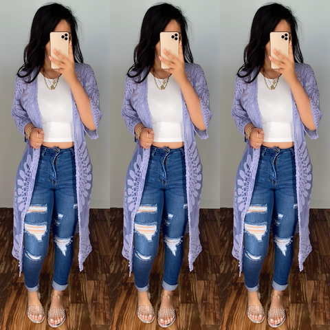 Annalise (Lavender) Long Cardigan