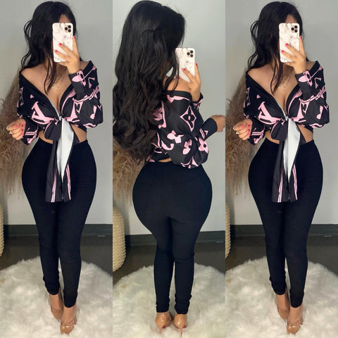 LV (Pink/Black) Inspired Top
