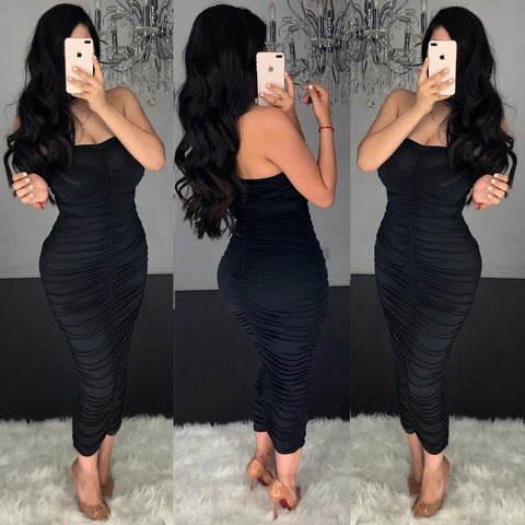 Kylie Ruched (Black) Midi Dress