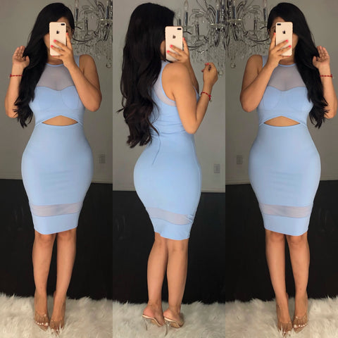 Hayden (Light Blue) Midi Dress