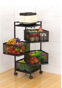Multilayer Rotate Storage Shelf with Wheel