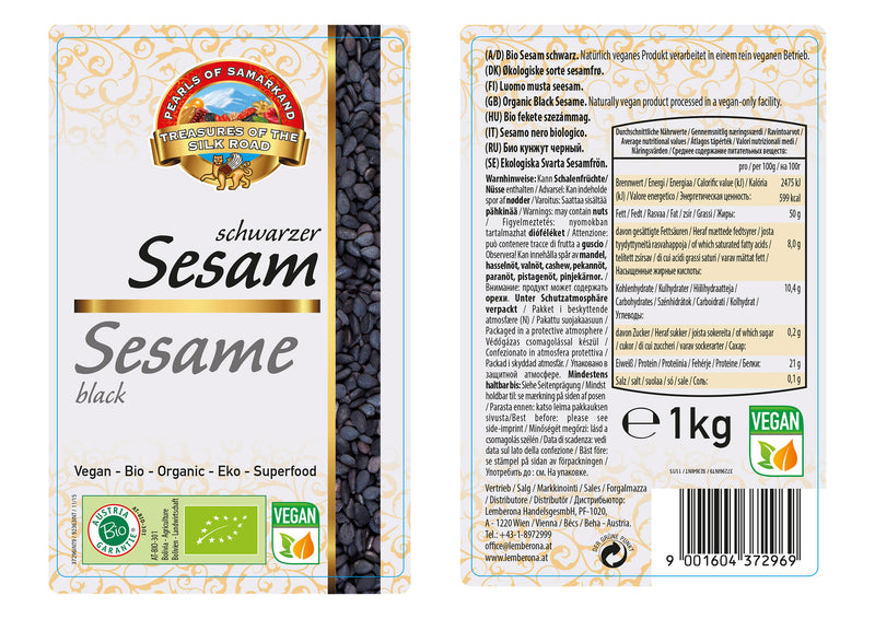 Organic black sesame seeds (1kg packs)