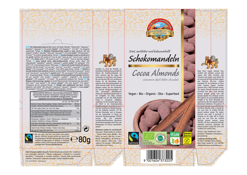 Organic FAIRTRADE dark chocolate cinnamon almonds gluten free