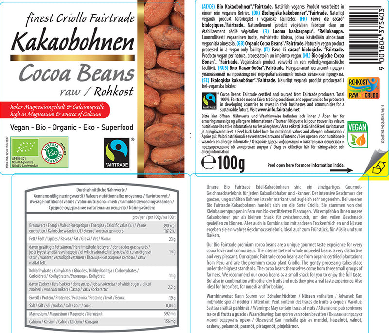 Organic FAIRTRADE Raw Cacao Beans (skin-on)
