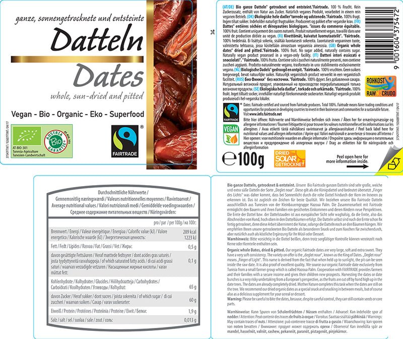 Organic FAIRTRADE Dates pitted