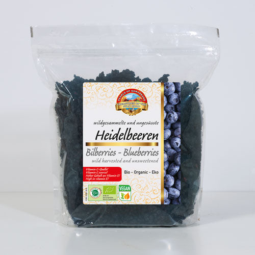 bilberries, blueberries unsweetened wild collected dried organic