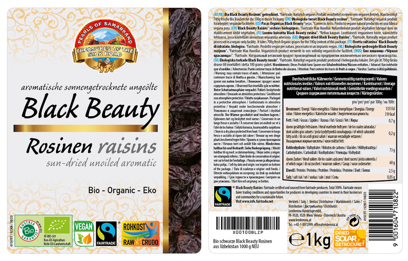 Organic Black Beauty Raisins FAIRTRADE Uzbekistan