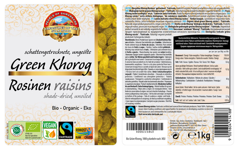 Organic Green Khorog Raisins FAIRTRADE