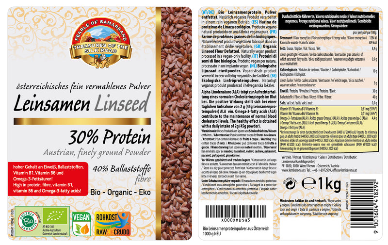 Organic linseed fiber flour defatted organic – Flax seed 30% protein powder from Austria low-carb