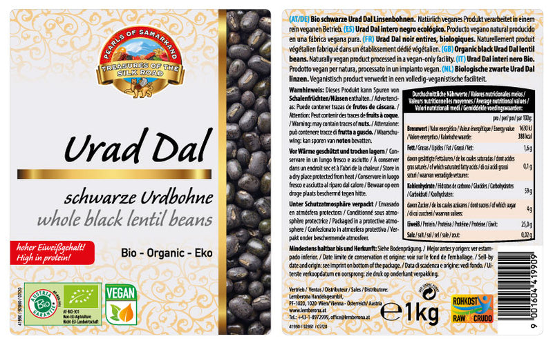 Organic Black Whole Urad Dal lentil beans