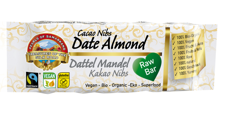 Raw and Organic Date Almond Cacao Nibs bar FAIRTRADE