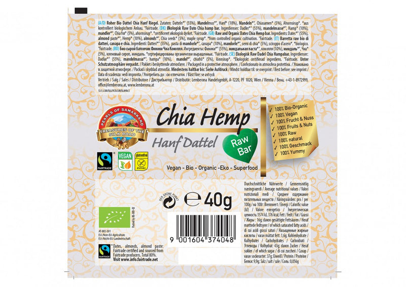 Raw and Organic Dates Chia Hemp bar FAIRTRADE