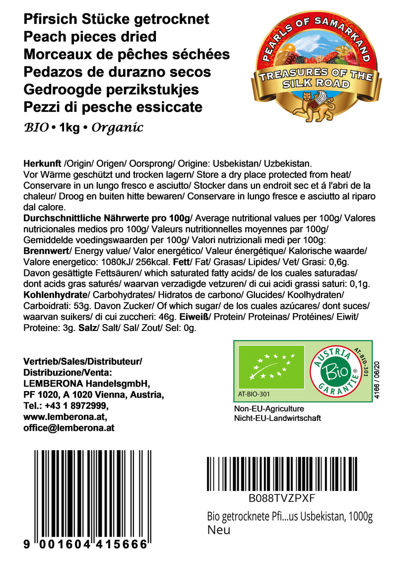Organic dried unsweetened peach slices Uzbekistan