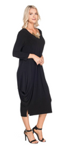 Load image into Gallery viewer, 3/4 Sleeve Dress With Side Drapes