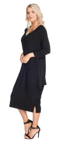 3/4 Sleeve Dress With Side Drapes