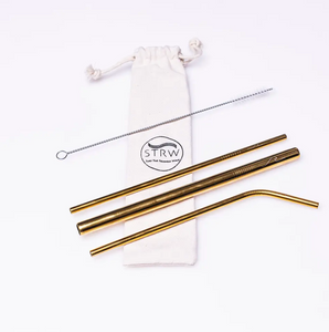 Gold Metal Straw Kit