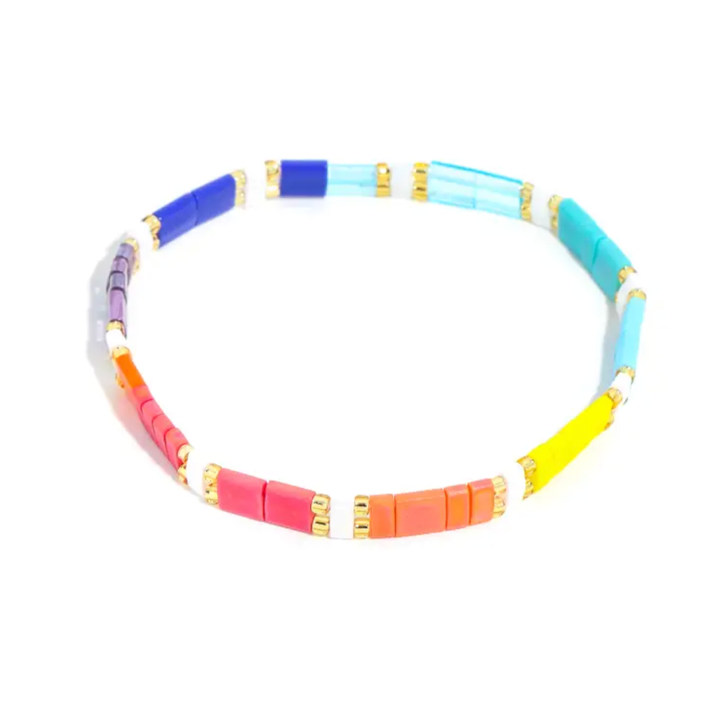Multi Color Glass Beaded Bracelet