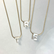 Load image into Gallery viewer, Mother of Pearl Initial Necklace