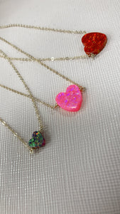 Large Opal Heart Necklace