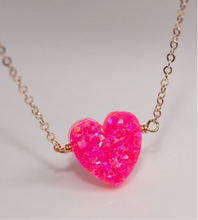Load image into Gallery viewer, Large Opal Heart Necklace