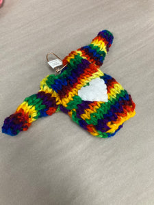 Rainbow heart sweater ornament