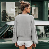 Knitted Womens Pullover Sweater  W/ Lantern Sleeve