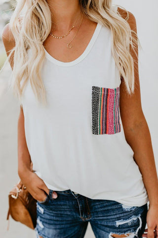 Casual Women Tank Top with Multicolor Pocket