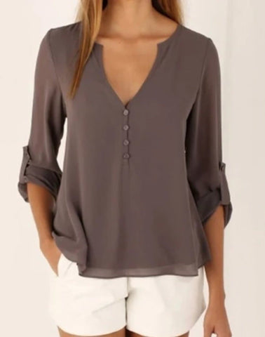 Womens Chiffon V Neck Blouse