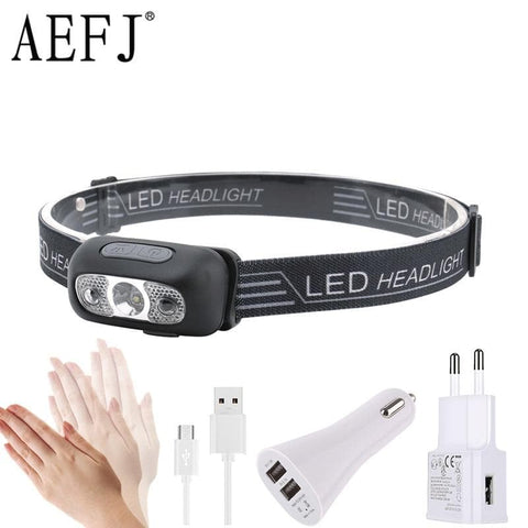 Mini Rechargeable LED Headlamp Body Motion Sensor Headlight  Head Light Torch Lamp With USB