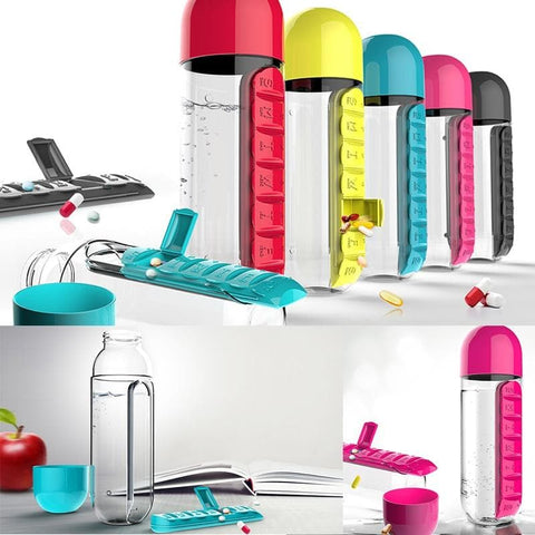 600 ML Water Bottle With Pill Travel Box Organizer