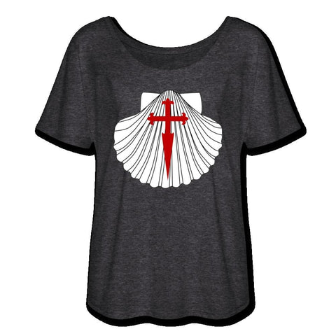 Scallop w/ St. James Cross Womens Flowy T-Shirt - charcoal gray