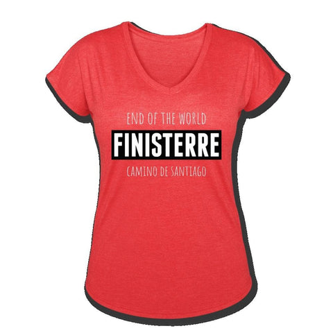 Finisterre Women's Tri-Blend V-Neck T-Shirt - heather red