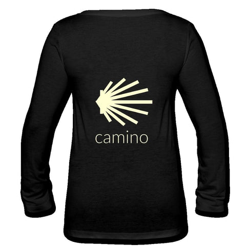 Camino Womens Long Sleeve  V-Neck Flowy Tee - black