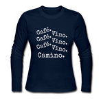 Cafe Vino - Women's Long Sleeve Jersey T-Shirt - navy