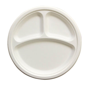 "PLATE/ Bagasse Empress Earth/ 10"" Three Compartment, Heavyweight Plate, 500/case"