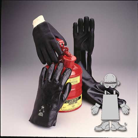 "GLOVES/ Work/ PVC Rough Grip 12"" Gloves Black"