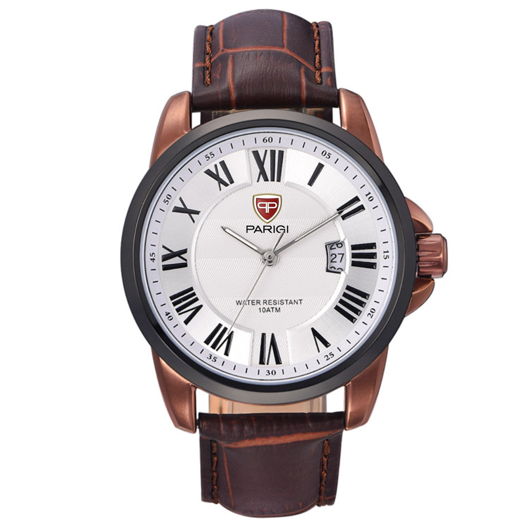 Parigi Man Watch Item 00601 White / Coffee