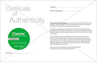 Cherner Chair Certificate of Authenticity