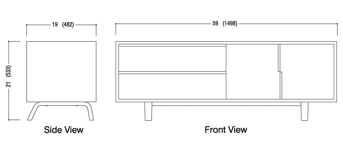 2 Drawer and Cabinet Credenza Schematic