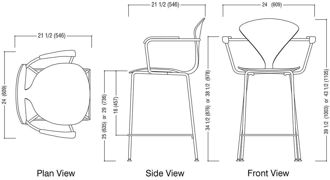 Metal Base Stool with Arms Schematic