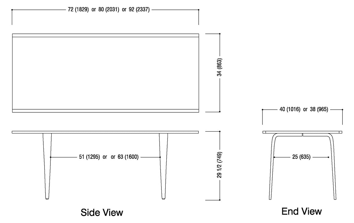 Rectangular Table Schematic