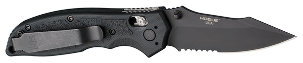 "HK Exemplar 3.25"" ABLE Lock Folder Clip Point Partially Serrated Black Finish G10 Scales - Solid Black"
