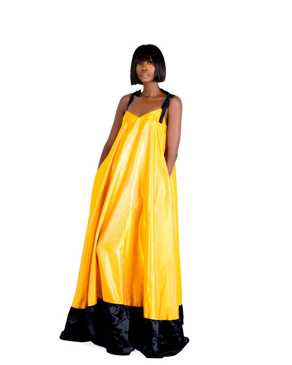 Asiyami Two-Tone Silk Satin Blend Gown