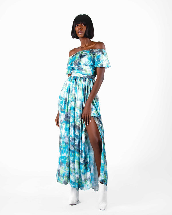 Omi Flare Printed Satin Top & Skirt Set