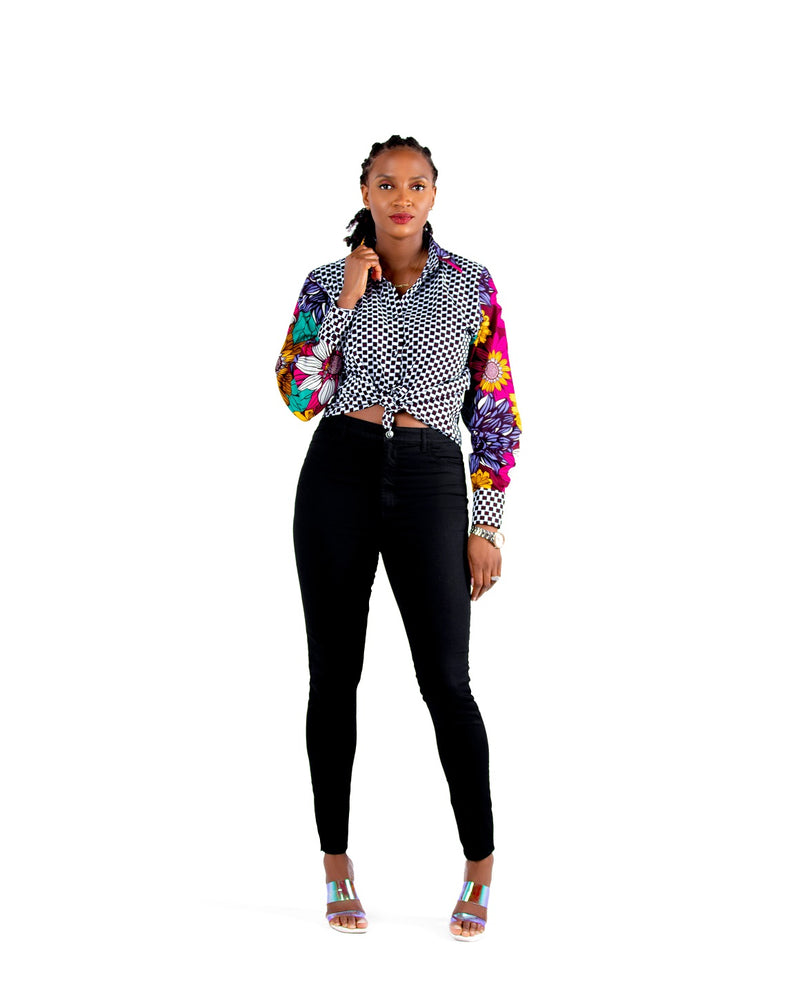 Aliza Mixed Print Ankara Shirt